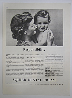 1937 Squibb Dental Cream With Woman Holding Baby