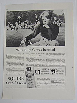 1937 Squibb Dental Cream With Billy C. Was Benched
