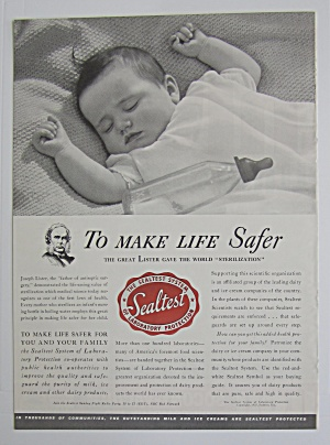 1937 Sealtest With Baby Sleeping With An Empty Bottle