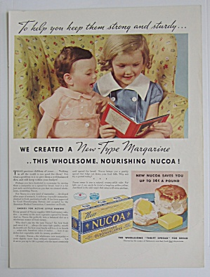 1937 Nucoa Margarine With Two Children Reading