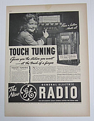1937 General Electric Radio With Little Girl & Radio