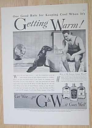 1937 G & W Whiskey With Man Staring At A Seal
