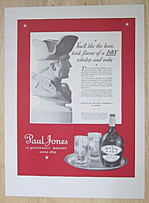 1937 Paul Jones Whiskey With A Bust Of A Soldier