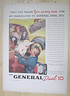 1937 General Dual 10 Tire With Man Holding A Baby