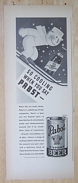 1937 Pabst Beer With Man Skiing