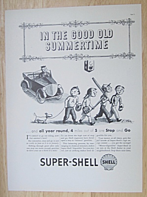 1937 Super Shell Gas With Children Walking