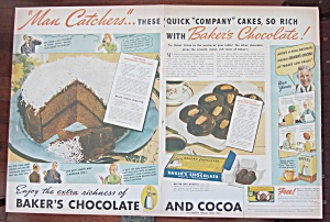 1937 Baker's Chocolate With Chocolate Frosted Cookies