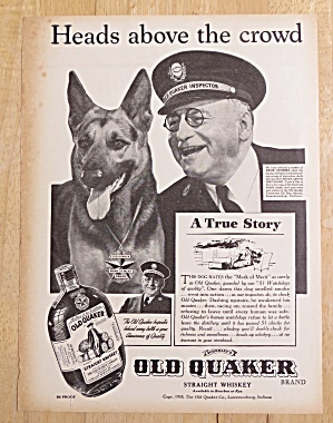 1938 Old Quaker Whiskey With 51 Watchdogs Of Quality
