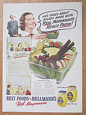 1938 Hellman's Mayonnaise With Fruitheart Salad