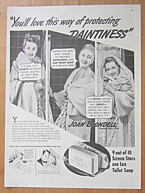 1938 Lux Toilet Soap With Joan Blondell