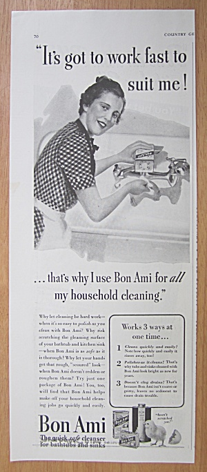 1939 Bon Ami With Woman Cleaning Kitchen Faucet