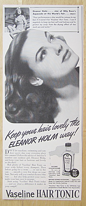 1940 Vaseline Hair Tonic With Eleanor Holm