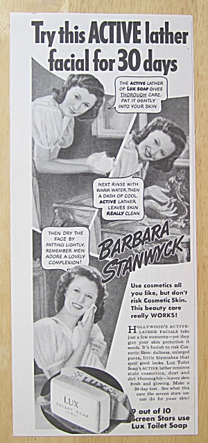 1940 Lux Toilet Soap With Barbara Stanwyck