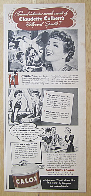 1940 Calox Tooth Powder With Claudette Colbert