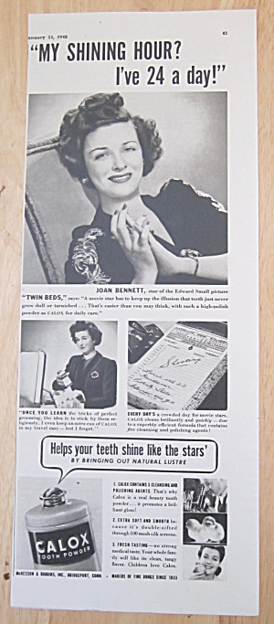 1942 Calox Tooth Powder With Joan Bennett