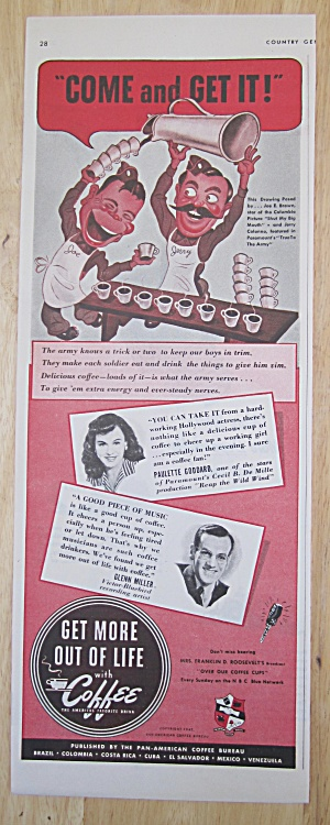 1942 Coffee With Paulette Goddard & Glenn Miller