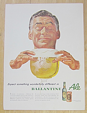 1953 Ballantine Ale With Man & Glass Of Beer