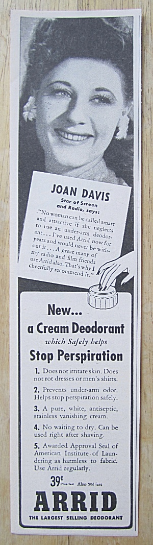 1945 Arrid Deodorant With Screen Star Joan Davis