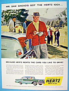 1958 Hertz Rent A Car With Sam Snead
