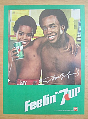 1981 7 Up Soda Ad With Sugar Ray Leonard & Ray Jr.