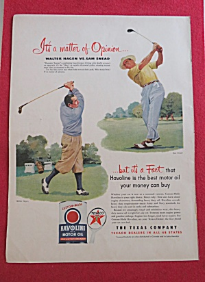 1951 Havoline Motor Oil With Sam Snead & Walter Hagen