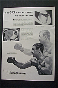 Vintage Ad:1953 G-e Aluminized Tube With Rocky Marciano