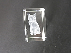 3 D Laser Engraved Crystal Cat Paperweight