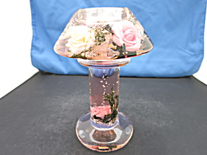 Blown Glass Candle Lamp With Pink And Yellow Roses