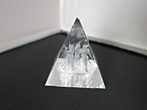 3 D Laser Paperweight Crystal Pyramid Angles Harp