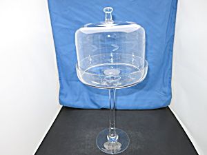 Etched Glass Dome Pedestal Pastry Server 16 Inch