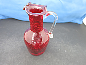 Blown Crackle Glass Ruby Red Pitcher Flared Rim