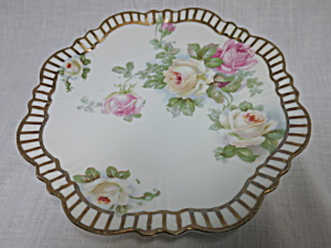 Selesia Germany Rose Plate Gold Trim 9 Inch