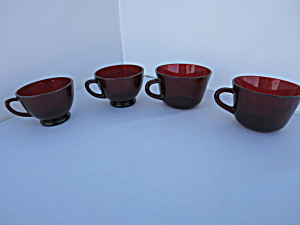 Anchor Hocking Royal Ruby Red Coffee And Tea Cups Four