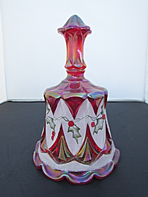 Fenton Art Glass Christmas Bell Red Carnival 1996