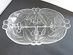 Crystal Holly Berry Divided Serving Dish