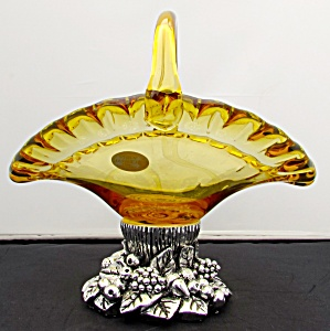 Murano White Crystal Basket Yellow Amber Pedestal Base