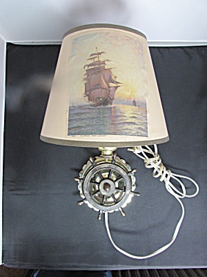 Vintage Clipper Ship Wheel Wall Lamp