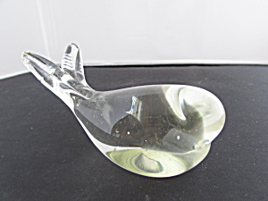 Art Glass Whale Paperweight Clear Glass Unsigned