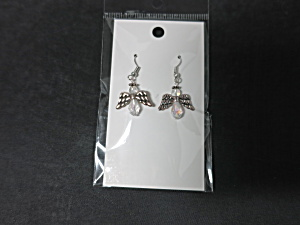 Angel Earrings Crystal Sparkle Clear Hand Made By Allie