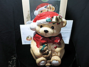 Animated Talking Bear Cookie Jar Santa Bear