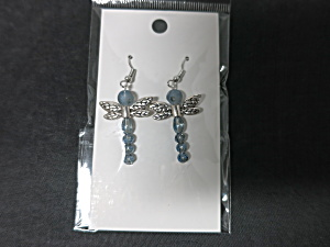 Whimsical Dragonfly Earrings Blue Hand Made By Allie