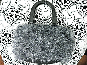 Hand Made Fur Yarn Hand Bag Black Silver And Black Wool