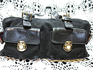 Maxx New York Black Suede Leather Shoulder Hand Bag