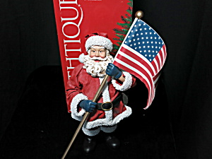 Clothtique God Bless America Santa 2001 Patriotic 12 In