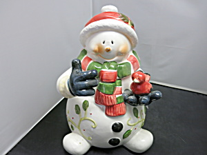 Snowman Holding Cardinal Bird Cookie Jar Pai China