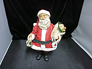 Clothtique Midwest Imports Santa With Bell And Toy Sak