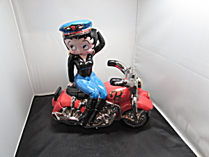 Betty Boop Biker On Motorcycle Cookie Jar Clay Art 2000