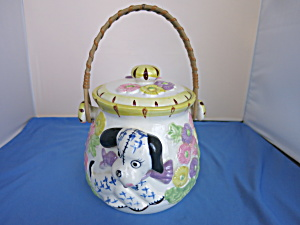 Vintage Puppy Dog In Flower Bed Cookie Jar Cracker
