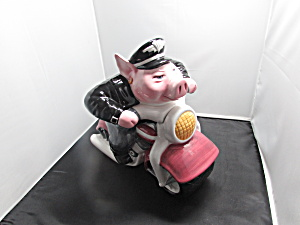 Road Hog Cookie Jar Clay Art Pig Motorcycle 1996
