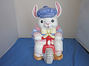 Cooks Bazaar Bunny Rabbit On Tricycle Cookie Jar